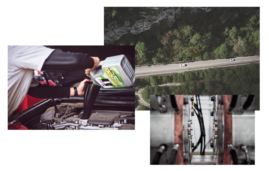 Kollage med tre bilder på hydraulik, bilar oh smörjmedel